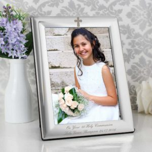 Personalised Silver Plated 5x7 Holy Cross Motif Photo Frame