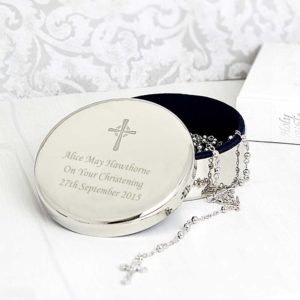 Personalised Trinket Box with Rosary Beads and Cross