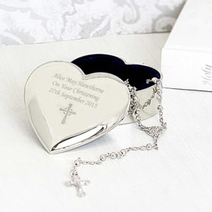 Personalised Heart Trinket Box with Rosary Beads and Cross
