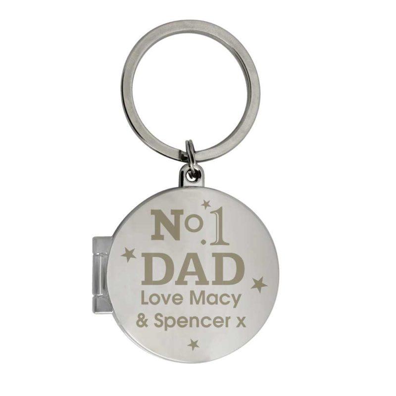 Personalised No1 Dad Round Photo Keyring