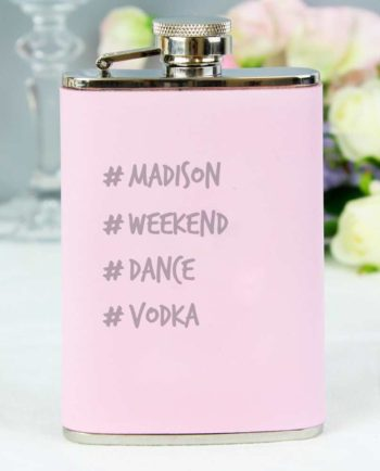 Personalised Hashtag Pastel Pink Hip Flask