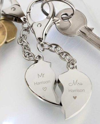 Personalised Mr and Mrs Two Hearts Keyring