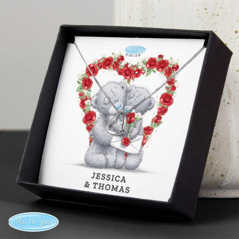 Personalised 'Me to You' Valentine Heart Necklace and Sentiment Box