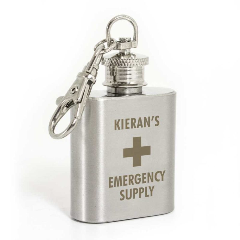 Personalised Mini Stainless Steel Hip Flask Keyring