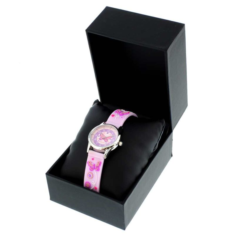 Personalised Pink 'Time Teacher' Butterfly Watch