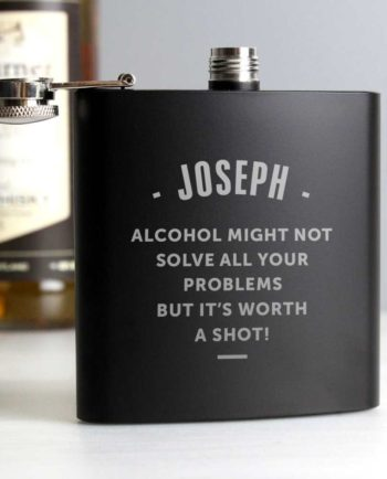 Personalised Matt Black Hip Flask