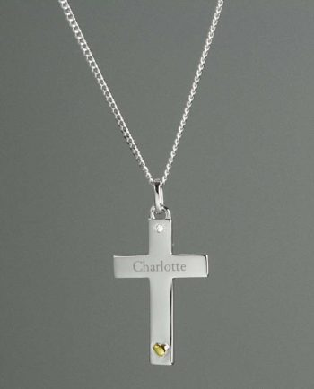 Personalised Sterling Silver Cross Necklace with 9ct Gold Heart
