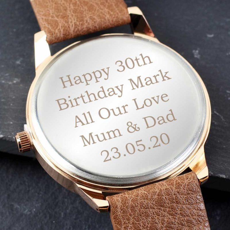 Personalised Mens Rose Gold & Brown Watch