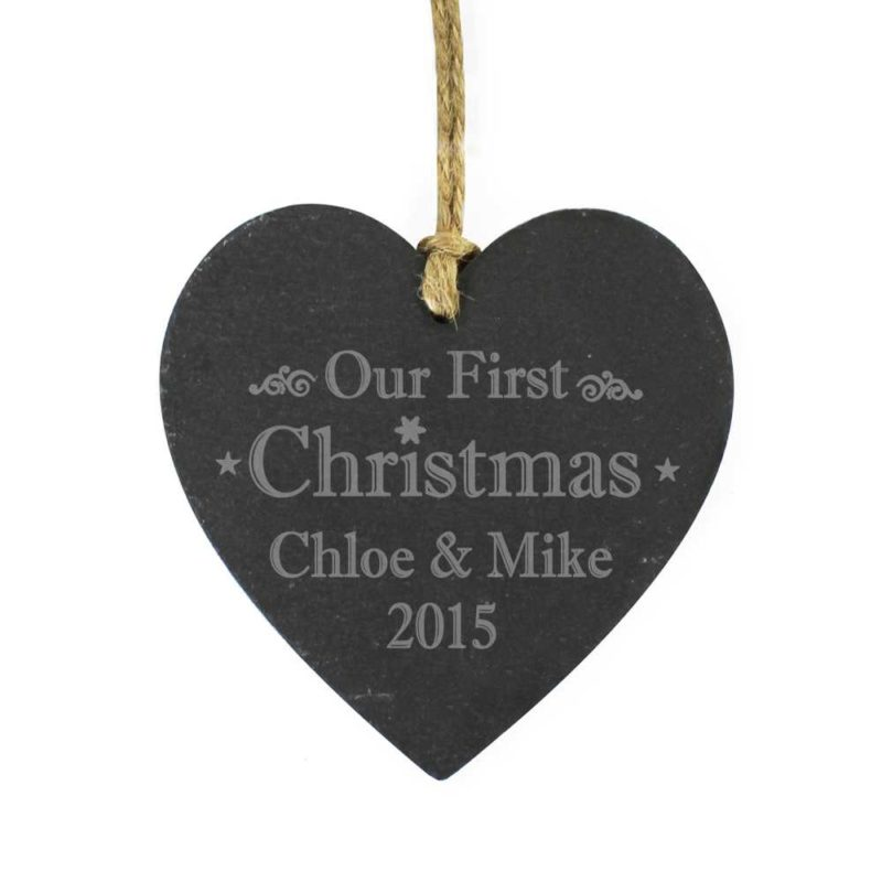 Personalised 'Our First Christmas' Slate Heart Decoration
