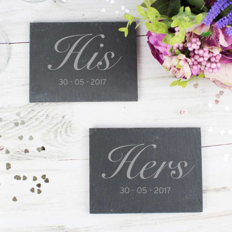 Personalised 'His and Hers' Slate Coaster Set