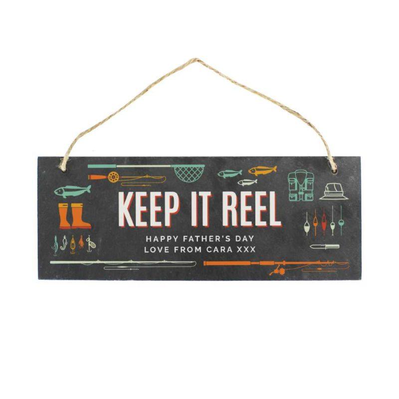 Personalised 'Keep It Reel' Fishing Slate Hanging Sign