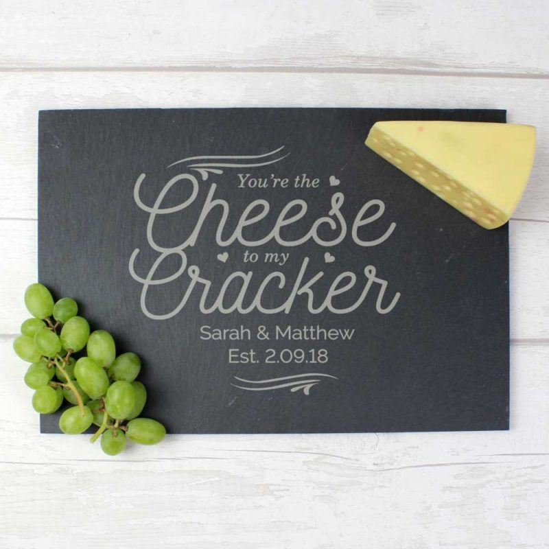 Personalised 'Cheese To My Cracker' Slate Cheeseboard