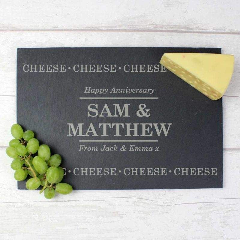 Personalised 'Cheese, Cheese, Cheese' Slate Cheeseboard