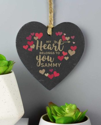 Personalised Love Hearts Slate Heart Decoration