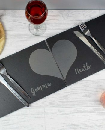 Personalised Two Hearts Slate Placemat Set