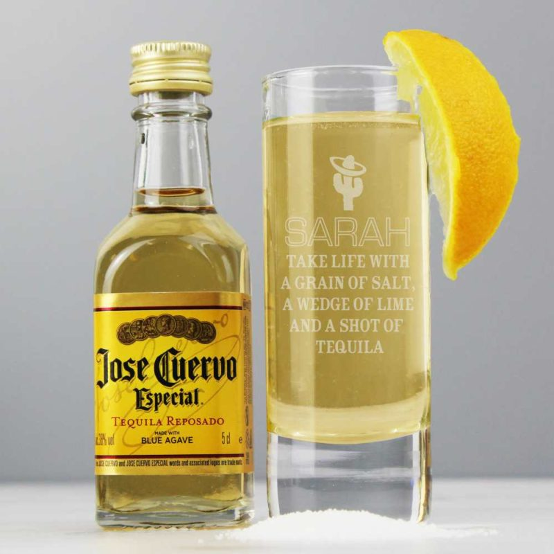Personalised Tequila Shot Glass and Tequila Miniature