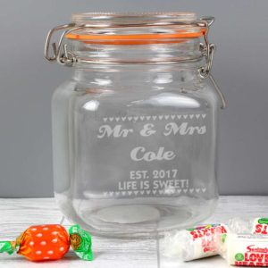 Personalised Small Hearts Glass Kilner Jar