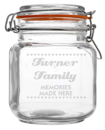 Personalised Small Hearts Glass Kilner Jar