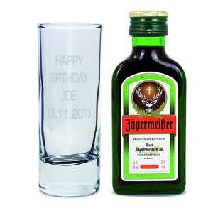 Personalised 'Your Message' Shot Glass and Jagermeister Miniature