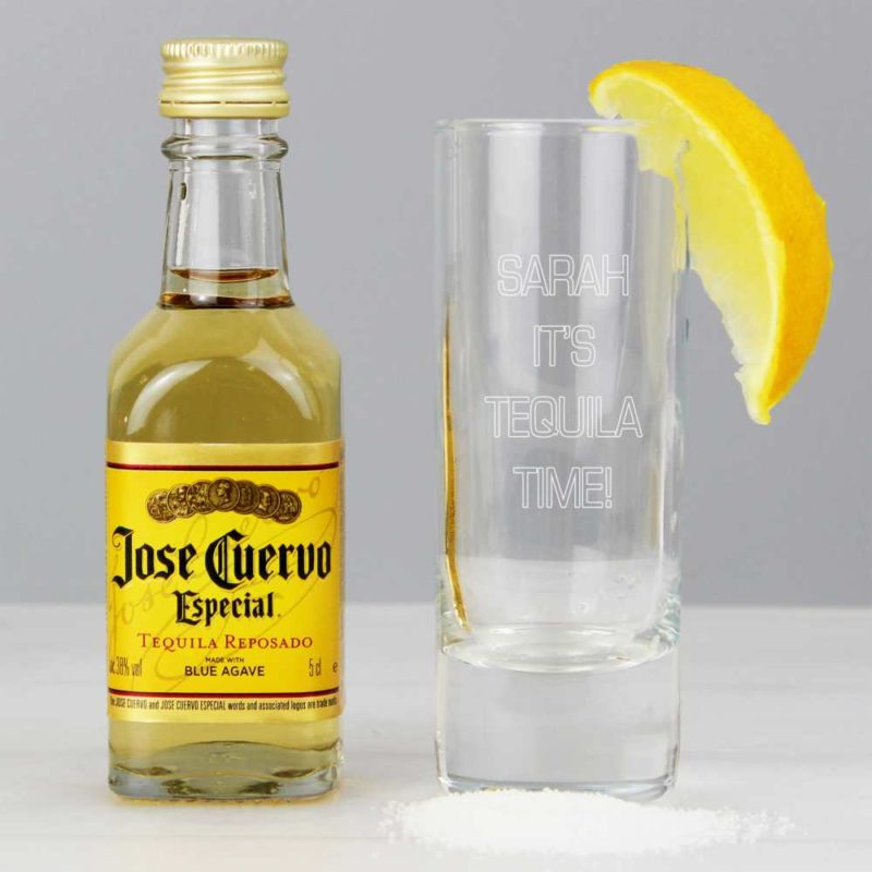 Personalised 'Your Message' Shot Glass and Tequila Miniature