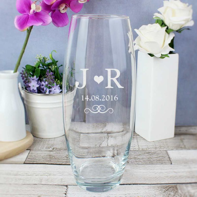 Personalised Initial & Heart Glass Vase