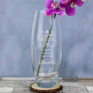 Personalised Happy Birthday Glass Vase