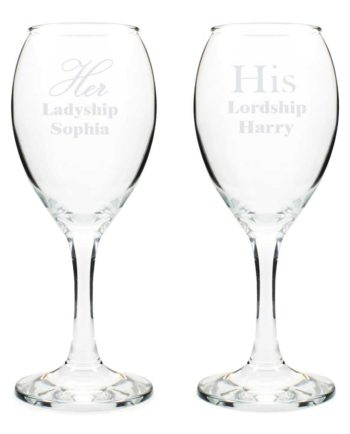 Personalised 'His Lordship' and 'Her Ladyship' Wine Glass Set