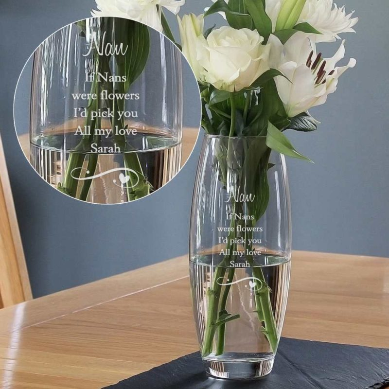 Personalised Swirls & Hearts Bullet Glass Vase