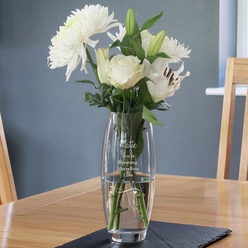 Personalised Swirls & Hearts Bullet Glass Vase