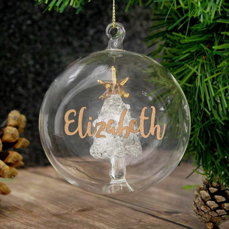 Personalised Gold Glitter Tree Glass Bauble