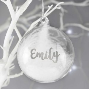 Personalised Silver Glitter Name Only Feather Glass Bauble