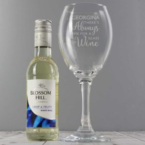 Personalised White Wine & 'Always Time for Wine' Glass Gift Set