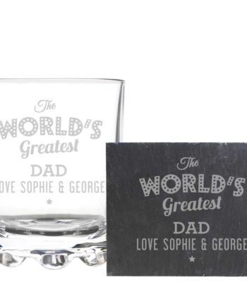 Personalised Whisky Tumbler and Slate Coaster Gift Set