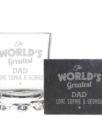 Personalised Whisky Tumbler and Slate Coaster Gift Set