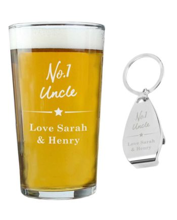 Personalised Pint Glass & Bottle Opener Gift Set