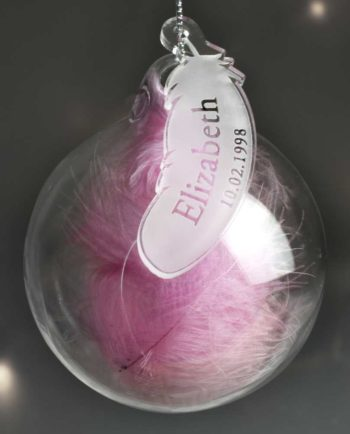 Personalised In Memory Pink Feather Glass Bauble