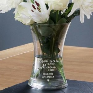 "Personalised ""To The Moon and Back"" Glass Vase"