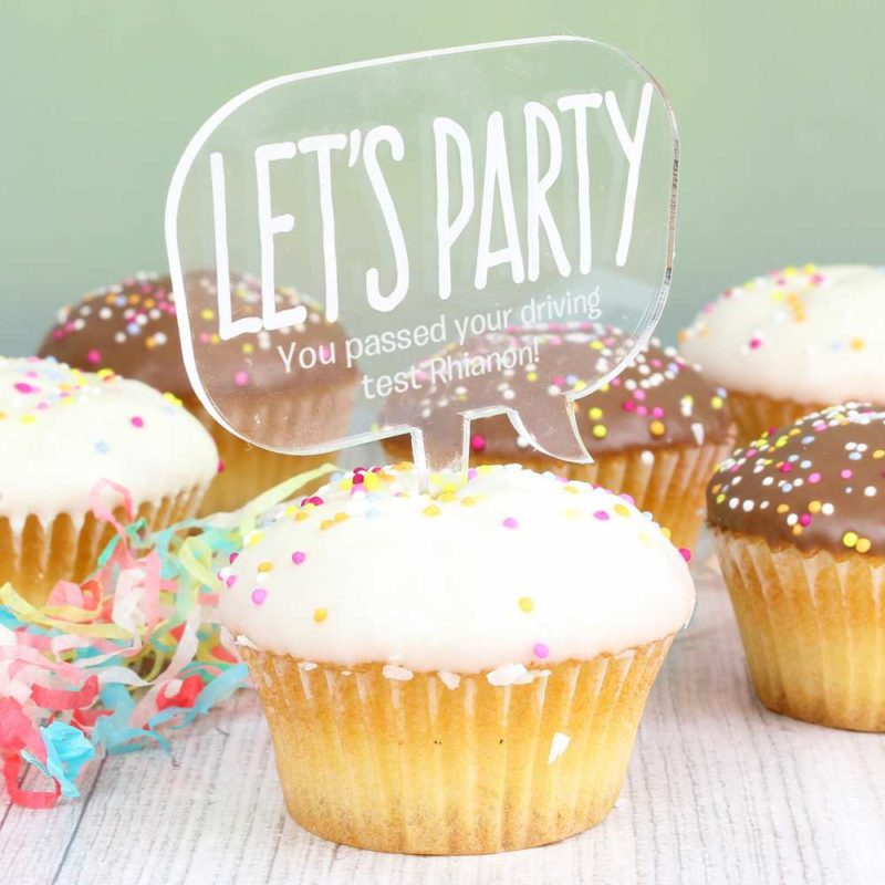 Personalised Acrylic 'Lets Party' Cake Topper