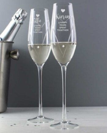 Personalised Champagne Celebration Flutes with Swarovski Elements in Gift Box
