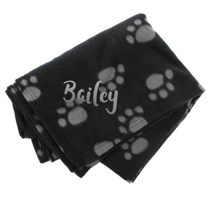 Personalised 'Paw Print' Fleece Dog Blanket