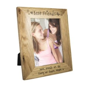 Personalised 7x5 Wooden Photo Frame Engraved with Best Friends
