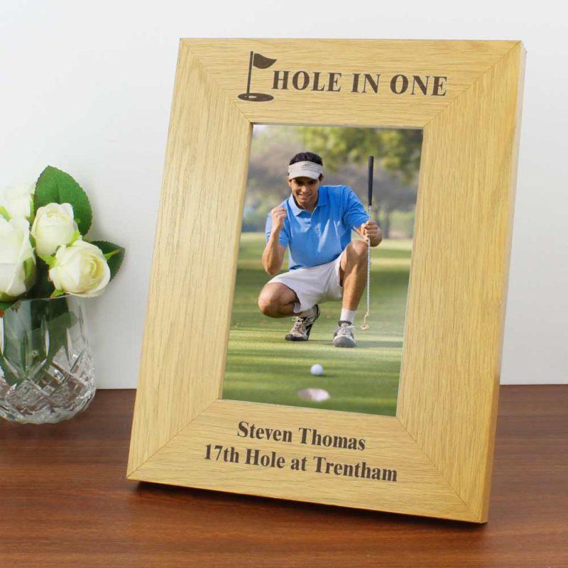 Personalised Oak Finish 6x4 Golf Photo Frame