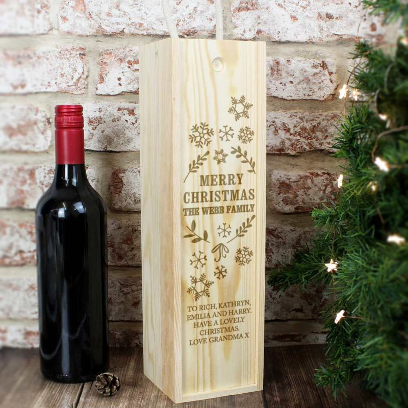 Personalised 'Christmas Frost' Wooden Wine Bottle Box