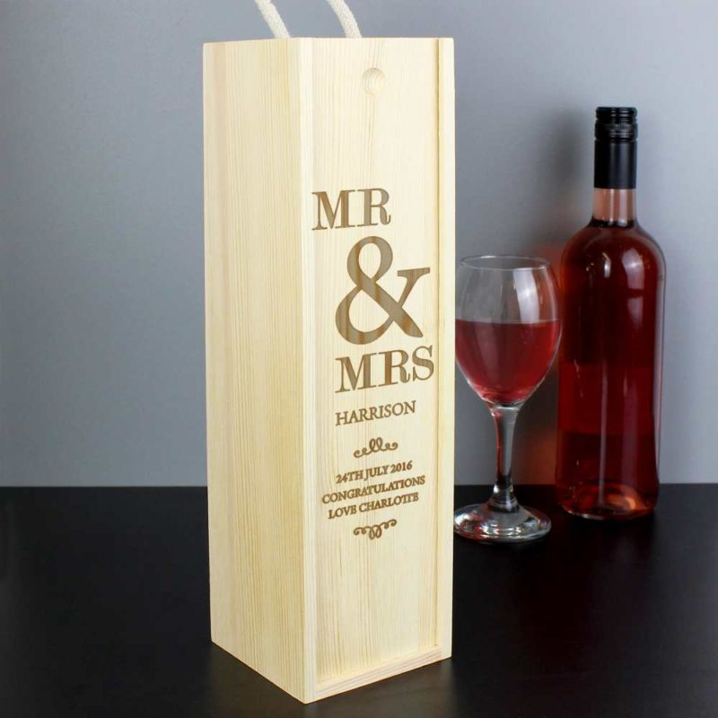 Personalised 'Couples' Wooden Drinks Bottle Box