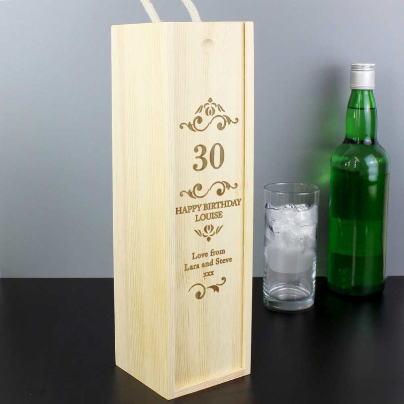 Personalised 'Elegant Number' Wooden Drinks Bottle Box