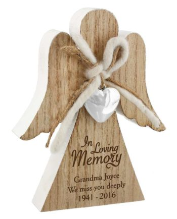 Personalised 'In Loving Memory' Rustic Wooden Angel Decoration