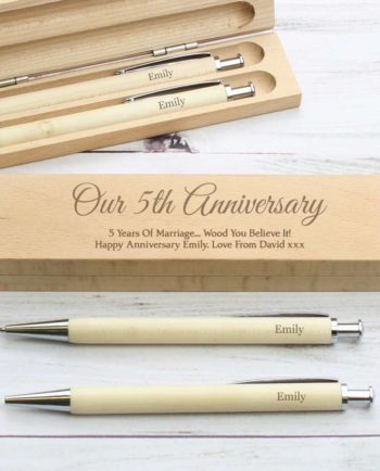 Personalised Scripted Font Wooden Pen and Pencil Box Set