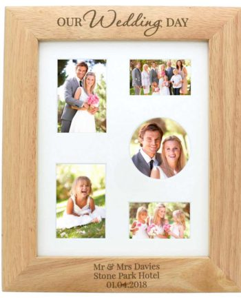 Personalised 10x8 Wooden Photo Frame engraved with Our Wedding Day