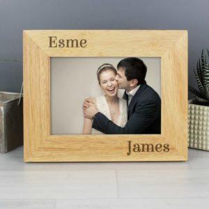 Personalised Couples Oak Finish Photo Frame - 6x4