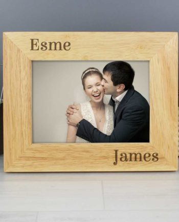 Personalised Couples Oak Finish Photo Frame - 6x4